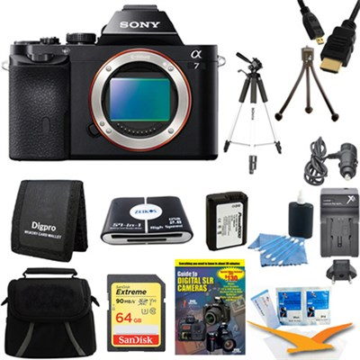 Alpha 7 a7 Digital Camera 64 GB SDXC Card, Battery, and Tripod Bundle