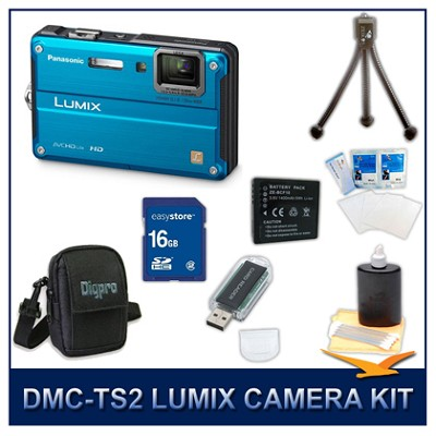 DMC-TS2A LUMIX 14.1MP Digital Camera (Blue), 16GB SD Card, and Camera Case