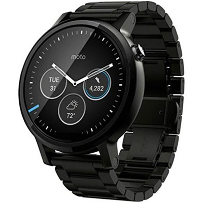 360 Smart Watch for iPhone and Android - 46 mm Black Stainless Steel