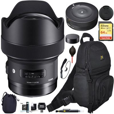 14mm F1.8 DG HSM Art Wide Angle Full Frame Lens for Nikon w/ USB Dock Bag Bundle