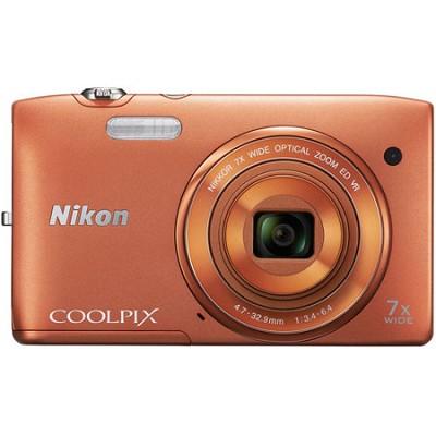 COOLPIX S3500 20.1MP Digital Camera with 720p HD Video (Orange) Refurbished