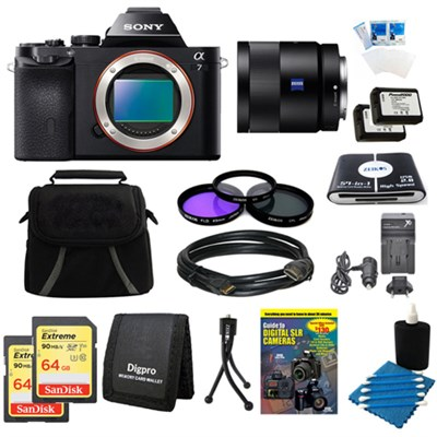 Alpha 7 a7 Digital Camera, 55mm Lens, 2 64GB SDXC Cards, 2 Batteries Bundle