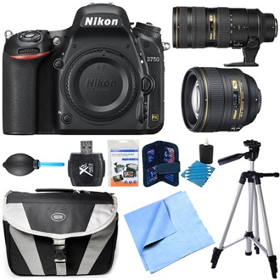 D750 DSLR 24.3MP HD 1080p FX-Format Camera Body 70-200mm/85mm NIKKOR Lens Bundle