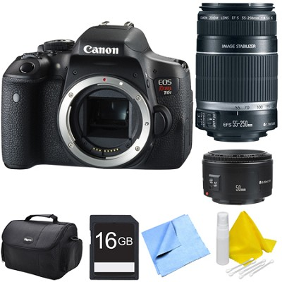 EOS Rebel T6i Digital SLR Camera Body with 55-250mm and 50mm Lens Bundle