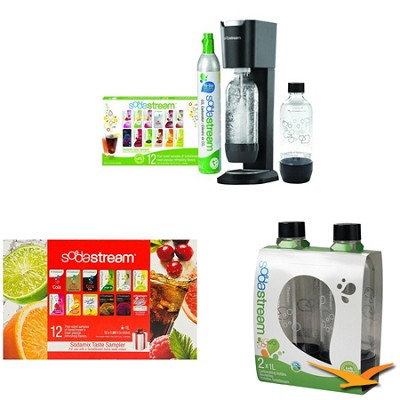 GENESIS Home Soda Maker - Premium Kit w/ 24 Samples & 2 Bonus Bottles (Black)