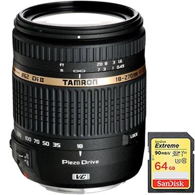 18-270mm f/3.5-6.3 Di II VC PZD IF Lens for Nikon 6 yr Wrnty w/ 64GB Memory Card