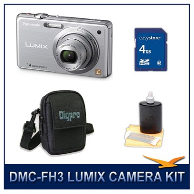 DMC-FH3S LUMIX 14.1 MP Digital Camera (Silver), 4GB SD Card, and Camera Case