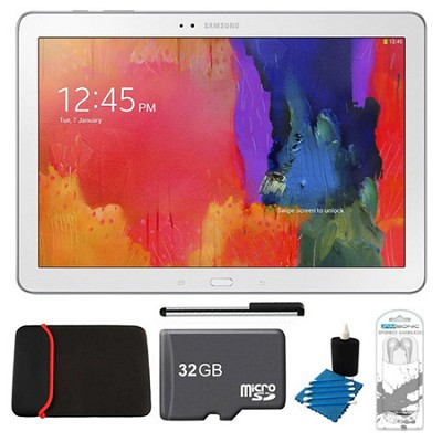 Galaxy Note Pro 12.2` White 32GB Tablet, 32GB Card, Headphones, and Case Bundle