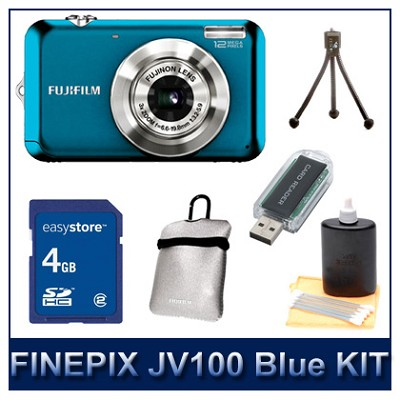 FINEPIX JV100 Blue + 4GB Memory Card + Card Reader + Case + Mini Tripod + More