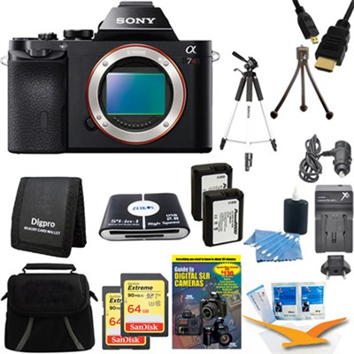 Alpha 7R a7R Digital Camera and 2 64GB SDXC Cards and 2 Batteries Bundle