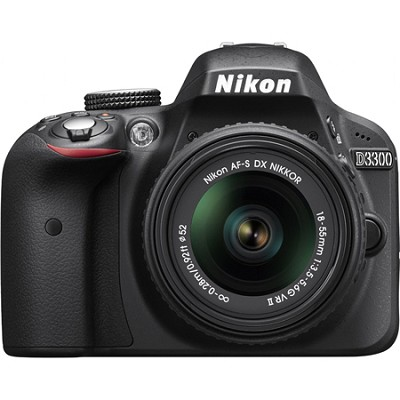D3300 DSLR 24.2 MP HD 1080p Camera with 18-55mm Lens - Black