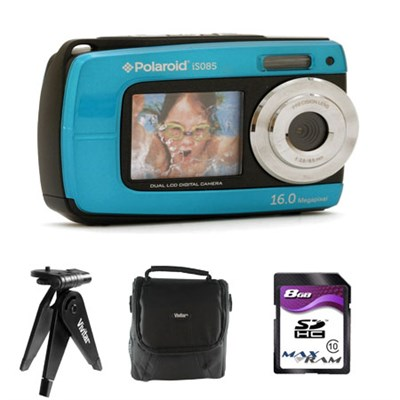 Waterproof 18.1MP Digital Camera IE085 - Blue w/ Accessory Kit