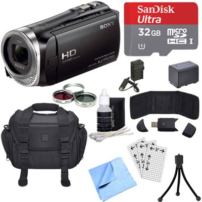 HDR-CX455/B Full HD Handycam Camcorder with Exmor R CMOS Sensor Deluxe Bundle