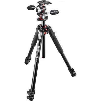 Aluminium Tripod 3-Section Horizontal Column Tripod with 3 Way Head - Black