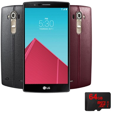 G4 Smartphone 32GB Unlocked GSM (US991) w Leather Back Cover & 64GB microSD Card