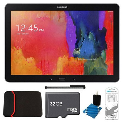 Galaxy Note Pro 12.2` Black 64GB Tablet, 32GB Card, Headphones, and Case Bundle