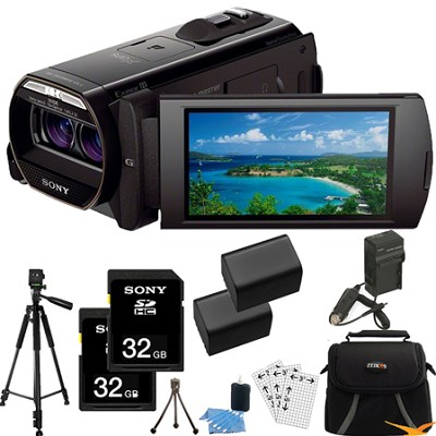 HDR-TD30V Full HD 3D Camcorder w/ GPS and 20.4MP stills Essentials Bundle