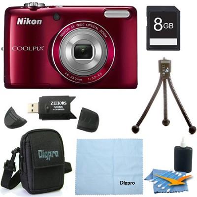 COOLPIX L26 16.1 MP 3.0-inch LCD Digital Camera Red 8GB Bundle
