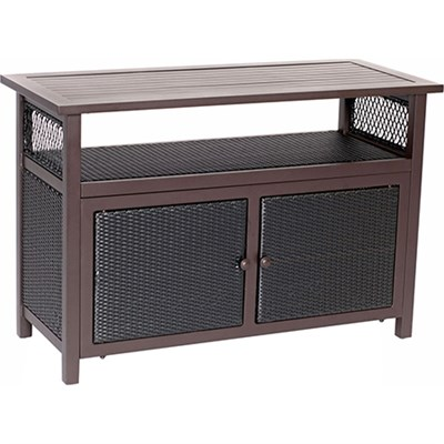 Hanover Aluminum/Woven Media Console Table with Storage