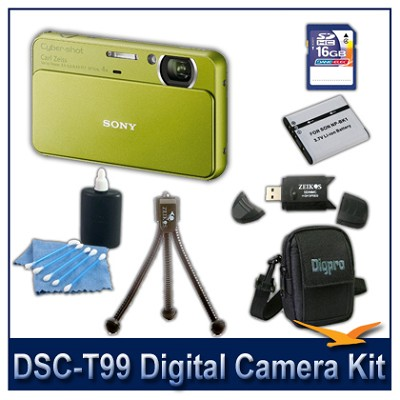 DSC-T99 14MP Green Touchscreen Digital Camera with 16GB Card, Case, and more