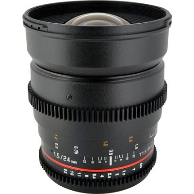 24mm T1.5 Aspherical Wide Angle Cine Lens, De-clicked Aperture - Canon EF Mount