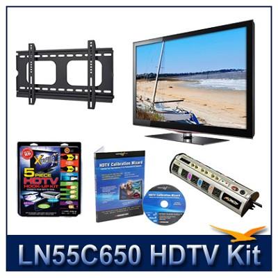LN55C650 55` HDTV + Flat Mount + Hook-Up + Power Protection + Calibration DVD
