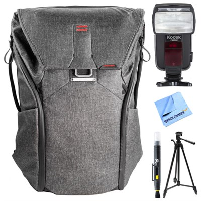 Everyday Backpack 30L (Charcoal) w/ Flash Bundle For Canon