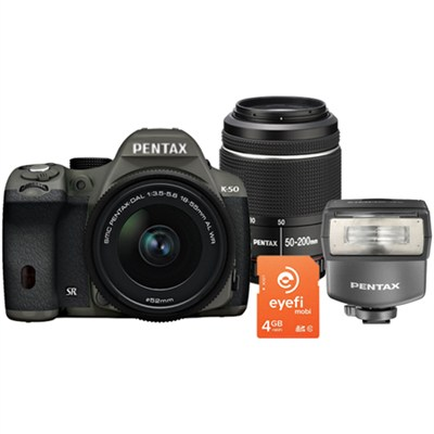 K-50 Weatherproof DSLR Bundle with 18-55mm, 50-200 WR Lenses, Eyefi Card & Flash
