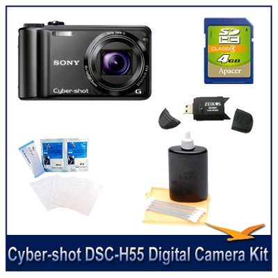 Cyber-shot DSC-H55 14.1 MP Digital Camera (Black) with 4GB Card, Case and More
