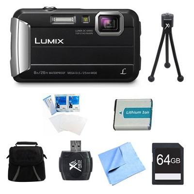 LUMIX DMC-TS30 Active Tough Black Digital Camera 64GB Bundle