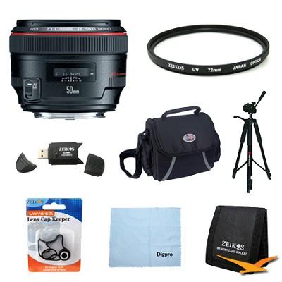EF 50mm f / 1.2L USM Lens with Case LP1214 and Hood ES-78 Exclusive Pro Kit