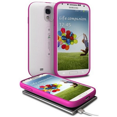 Aero Battery Case Cover with Wireless Charging Mat for Galaxy S4 - White/Magenta