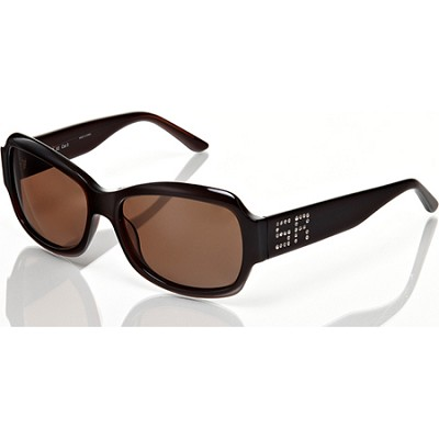 Brown Sunglasses with Brown Lens and SR Rhinestone Signature