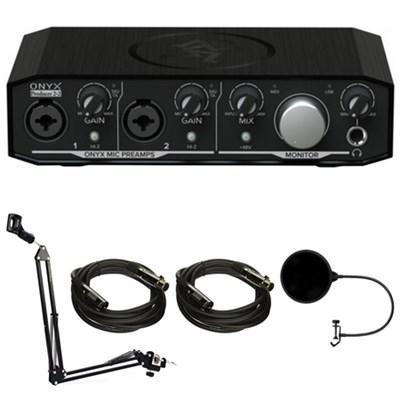 Onyx Producer 2-2 2x2 USB Audio Interface with MIDI + Accessories Bundle
