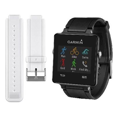 Vivoactive Smartwatch Bundle (Black) w/ Replacement White Strap - 010-01297-13