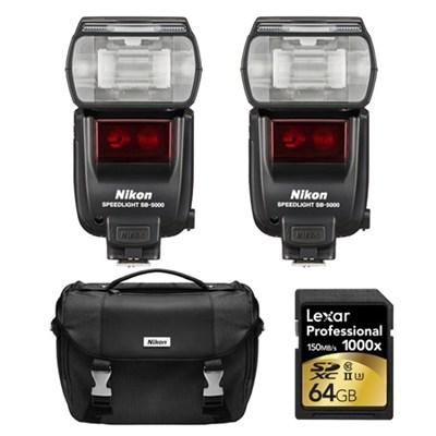 SB-5000 AF Speedlight Flashes, Case, and Card Bundle