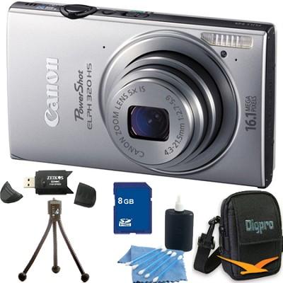 PowerShot ELPH 320 HS 16MP Silver Digital Camera 8GB Bundle