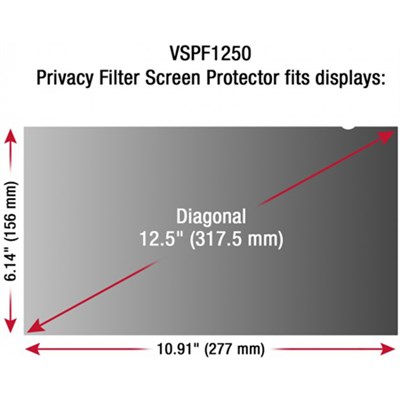 12.5` Privacy Filter Screen Protector for Laptop - VSPF1250