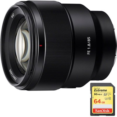FE 85mm F1.8 Full-frame E-mount Fast Prime Lens with 64GB Extreme SD Memory Card