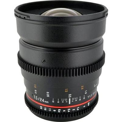 24mm T1.5 Aspherical Wide Angle Cine Lens, De-clicked Aperture - Sony Alpha DSLR