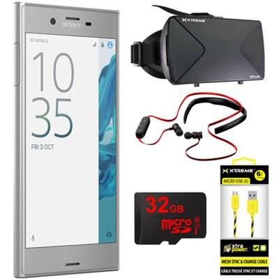 Xperia XZ 5.2` 32GB Unlocked Smartphone Platinum w/ 32GB Bundle
