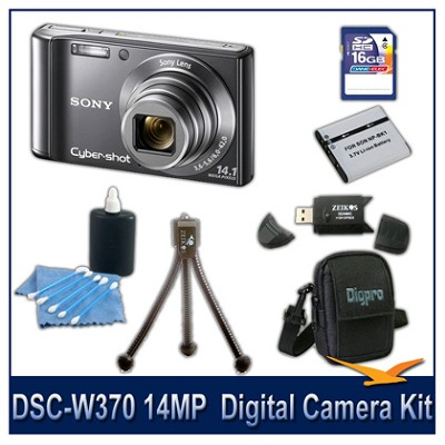 Cyber-shot DSC-W370 14MP Silver Digital Camera   with 16GB Card, Case, and More