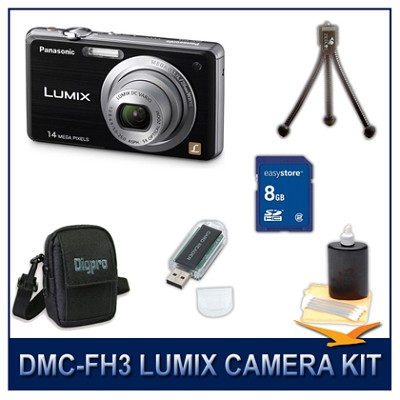 DMC-FH3K LUMIX 14.1 MP Digital Camera (Black), 8GB SD Card, and Camera Case