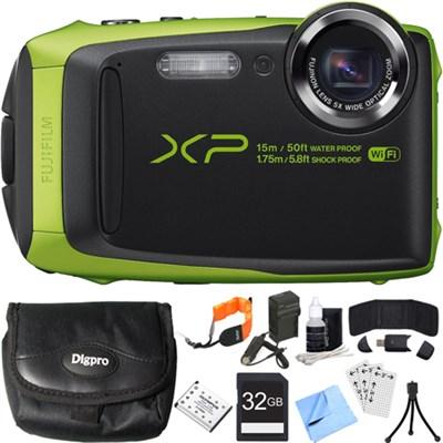 FinePix XP90 16 MP Waterproof Digital Camera Green 32GB SDHC Card Deluxe Bundle
