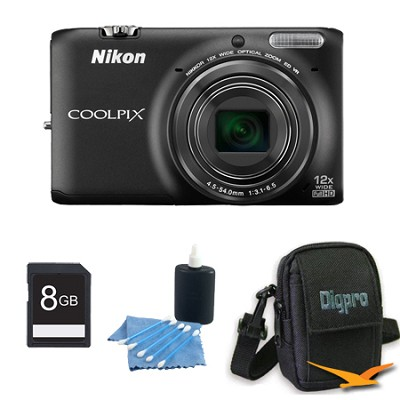 COOLPIX S6500 16 MP Digital Camera with 12x Zoom 8 GB Bundle (Black)