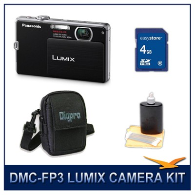 DMC-FP3K LUMIX 14.1 MP Digital Camera (Black), 4GB SD Card, and Camera Case