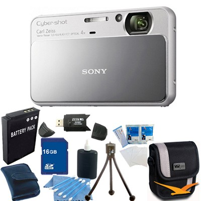 Cyber-shot DSC-T110 Silver Touchscreen Digital Camera 16GB Bundle