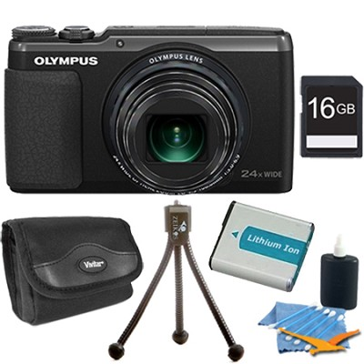 Stylus SH-50 iHS 16MP 24x Wide / 48x SR Zoom HD Digital Camera Black 16 GB Kit