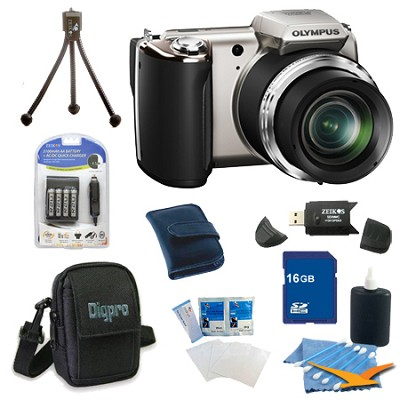 16 GB Kit SP-620UZ 16 MP 3-inch LCD Silver Digital Camera - Silver