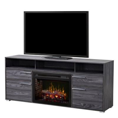 Sanders Electric Fireplace & Media Console - Logs, Carbon